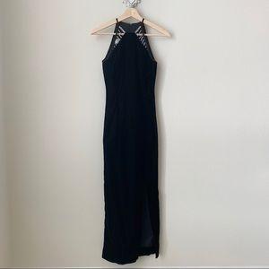 Jessica McClintock long black velvet dress